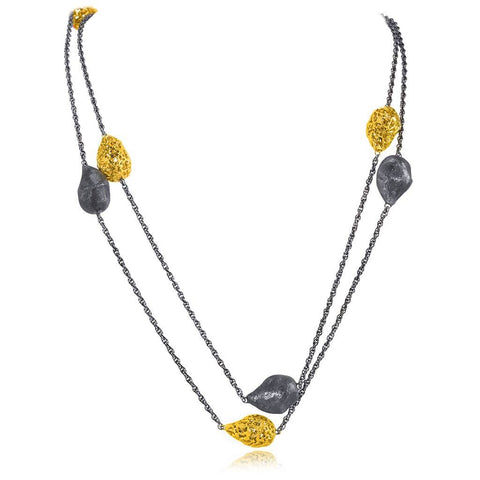 Sterling Silver, Gold and Platinum Meteorite Necklace