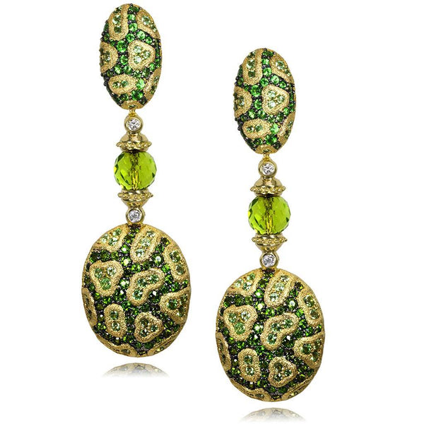 Gold Fine Lace Drop Earrings, Chrome Diopside, Peridot