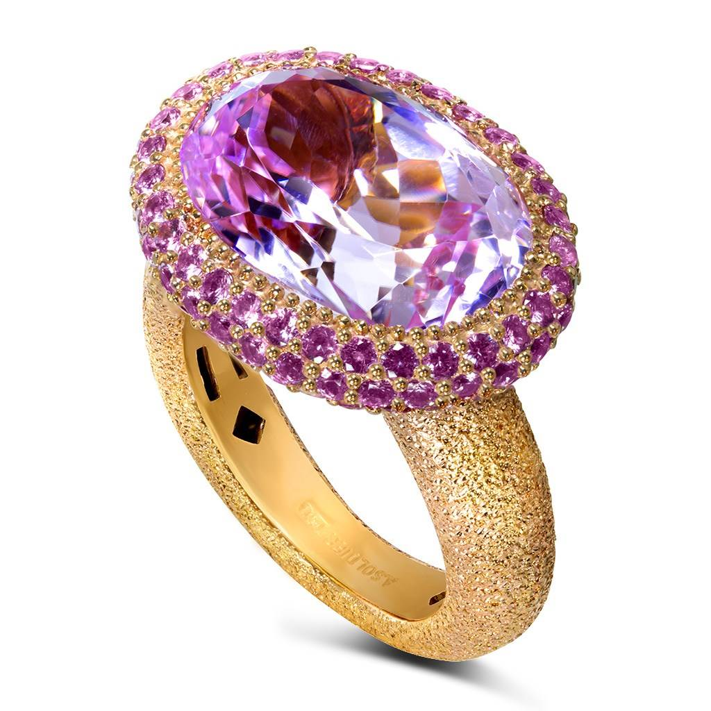 Kunzite Sapphire Rose Gold Cocktail Ring