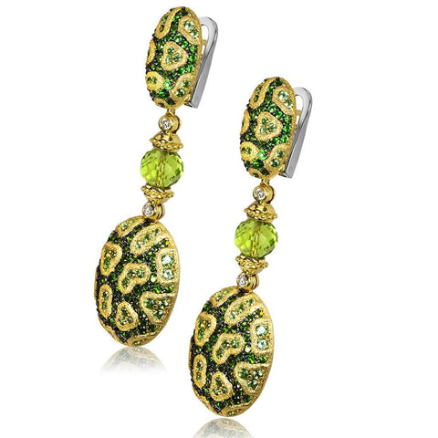CHROME DIOPSIDE, MINT GROSSULARITE, AND DIAMOND FINE LACE DROP EARRINGS IN YELLOW GOLD
