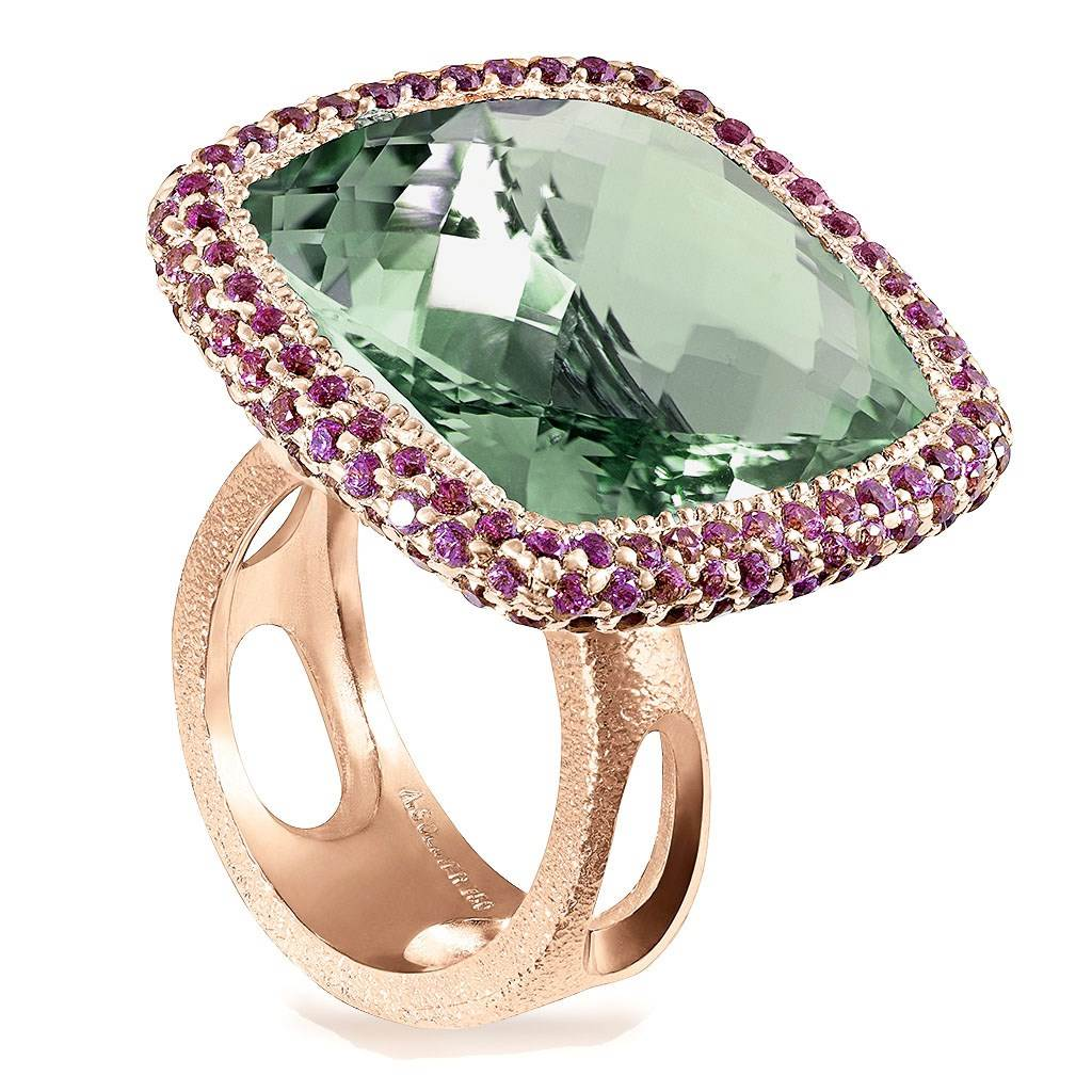 Rose Gold Royal Ring with Green Amethyst & Garnet