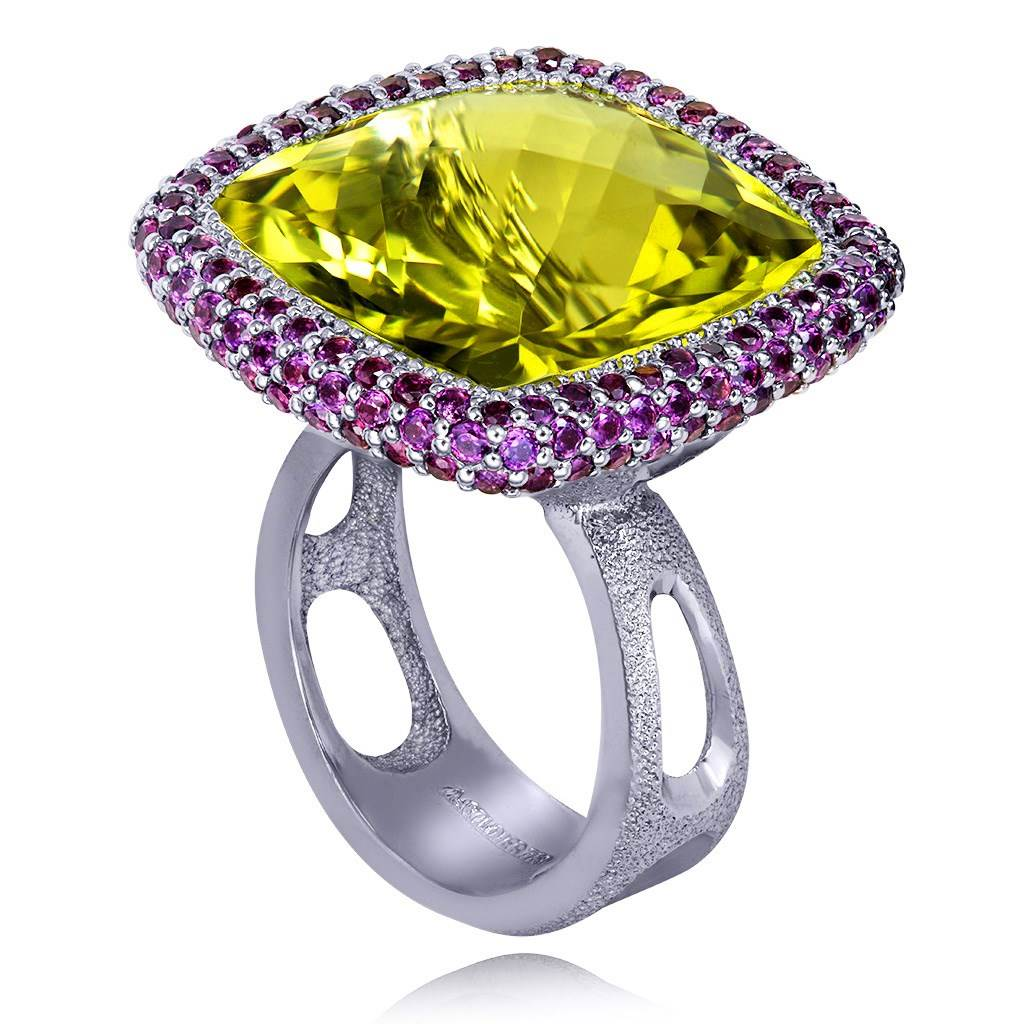 Gold Royal Ring with Lemon Citrine & Rhodolite Garnet