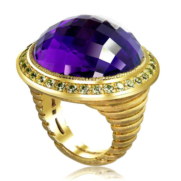 Gold Symbolica Ring with Amethyst & Peridots