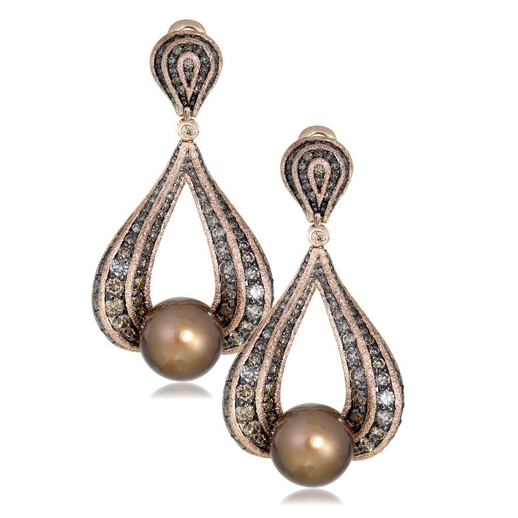 Gold Twist Earrings With Chocolate Pearl & Diamonds