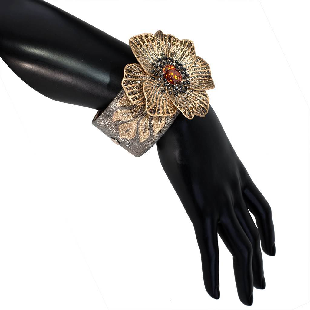 Gold Coronaria Cuff Bracelet with Garnet & Diamonds