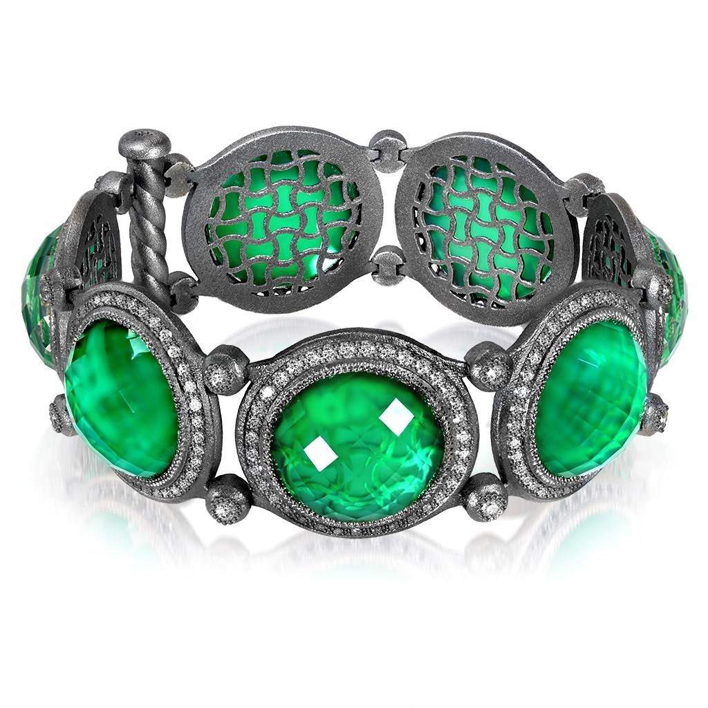 Sterling Silver Symbolica Bracelet with Green Agate Quartz and Topaz