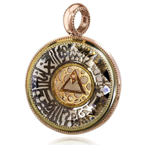Smoky Topaz and Diamond Gold Talisman Pendant Necklace