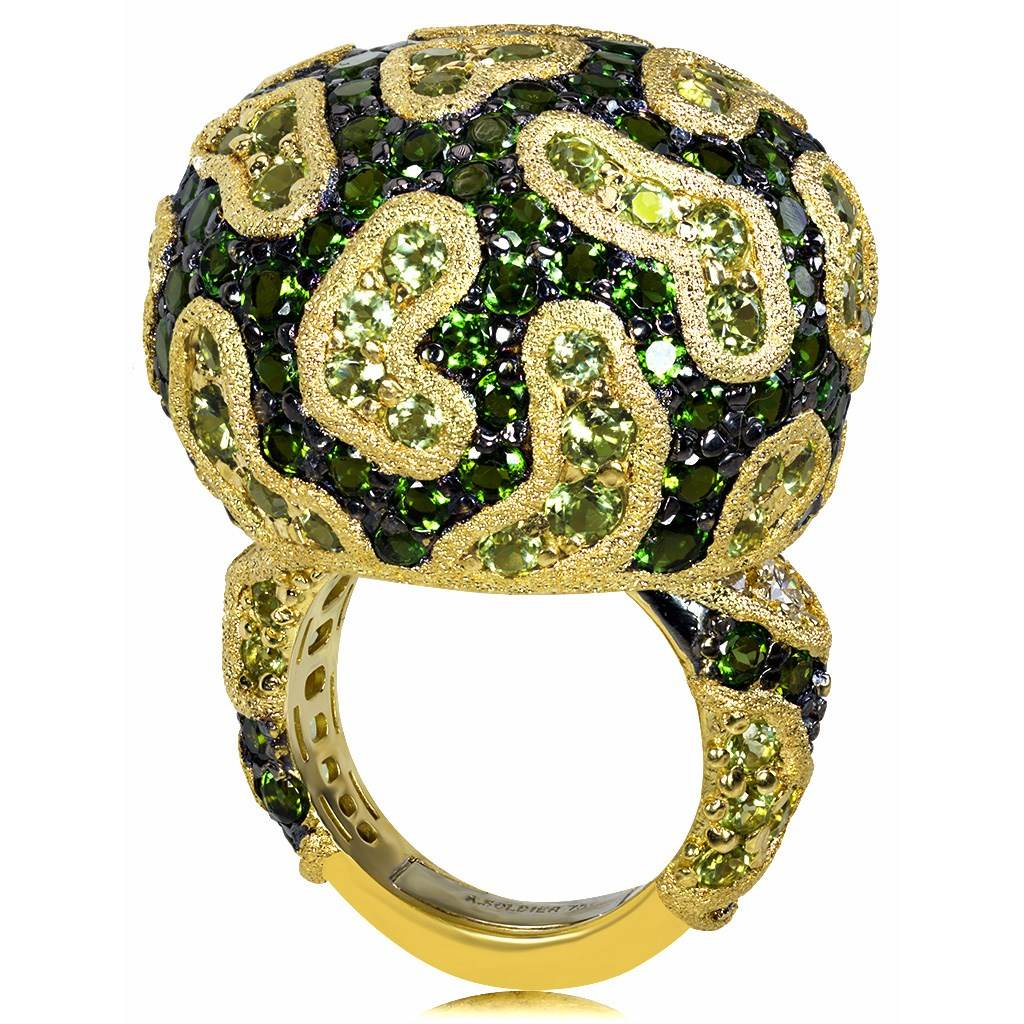 Gold Fine Lace Ring with Chrome Diopside and Peridot