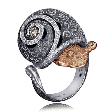 Gold and Sterling Silver Codi The Snail Swirl Pattern Ring Diamonds