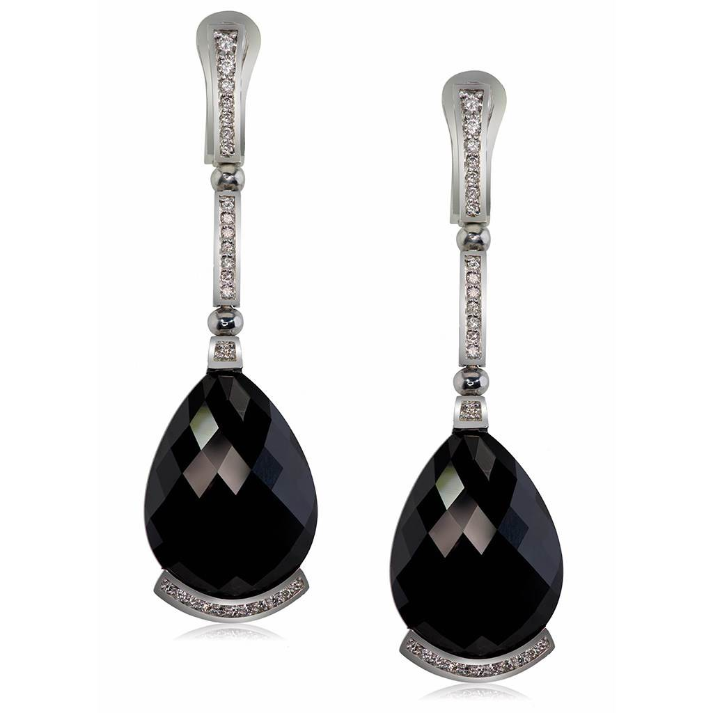 Gold Swan Drop Earrings with Black Onyx & Diamonds