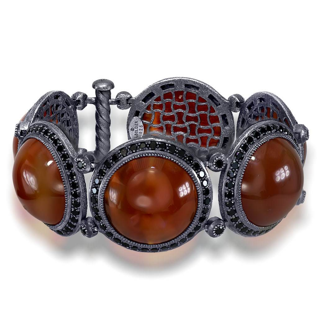 Carnelian And Black Spinel Symbolica Bracelet In Oxidized Silver