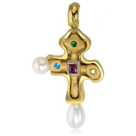 PEARL, GARNET, CTIRINE, BLUE TOPAZ AND CHROME DIOPSIDE BYZANTINE CROSS IN STERLING SILVER AND GOLD