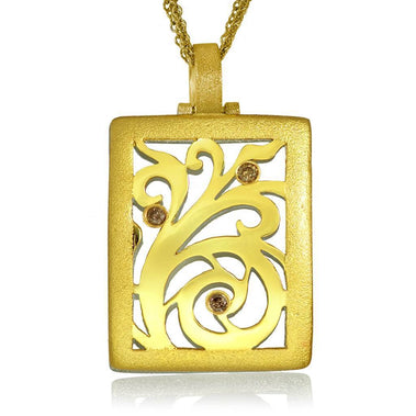 Gold Ornament Contrast Texture Champagne Diamonds Pendant
