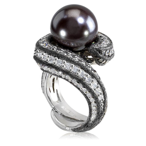 WHITE GOLD TWIST RING WITH TAHITIAN PEARL, DIAMONDS AND CONTRAST TEXTURE