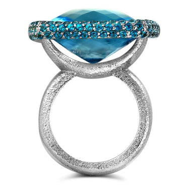 Blue And Paraiba Topaz Royal Ring In White Gold