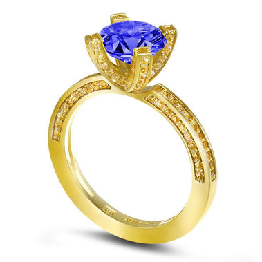 Princess Tanzanite Garnert Gold Engagement Ring