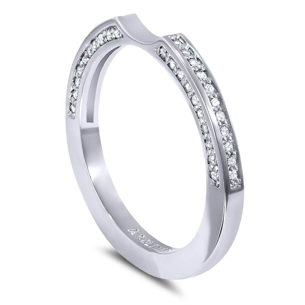 Princess Diamond Crescent Stackable Wedding Band