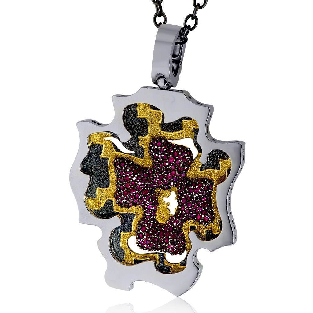 Silver Grand Cross Pendant/Necklace with Rubies