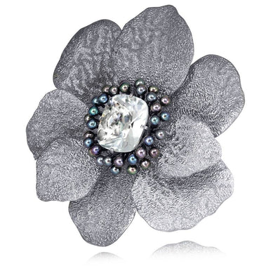 Sterling Silver Coronaria Brooch Pendant with White Topaz and Pearls