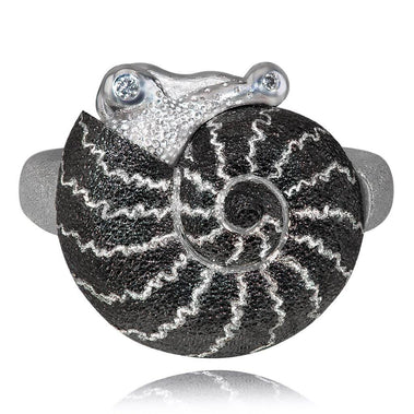 Diamond And Silver Little Snail Ring