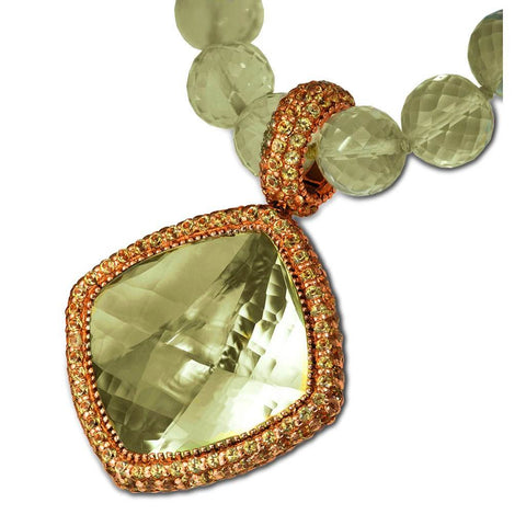 GREEN AMETHYST AND PERIDOT ROYAL NECKLACE PENDANT IN ROSE GOLD