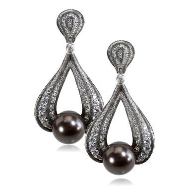 White Gold Twist Earrings With Tahitian Pearl, Diamonds And Contrast Texture