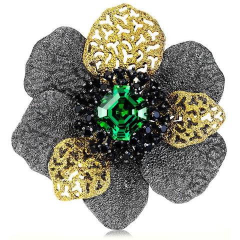 SWAROVSKI GREEN CRYSTAL AND BLACK SPINEL CORONARIA BROOCH PENDANT IN SILVER AND GOLD