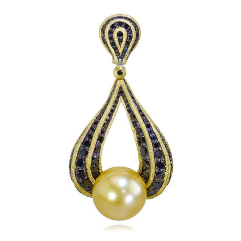 YELLOW GOLD TWIST PENDANT WITH GOLDEN SOUTH SEA PEARL AND BLACK DIAMONDS