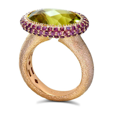 Lemon Quartz Rhodolite Garnet Rose Gold Cocktail Ring