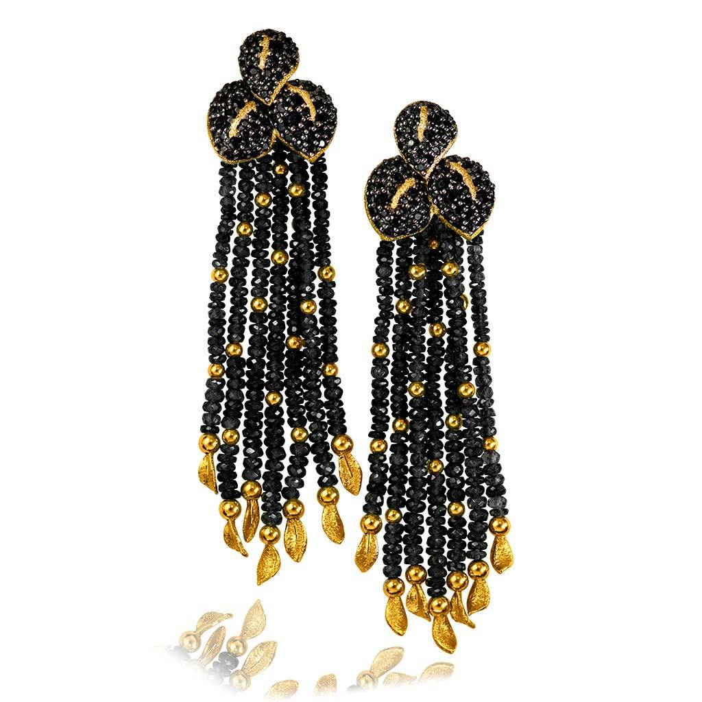 GOLD LEAF DROP EARRINGS WITH BLACK SPINEL