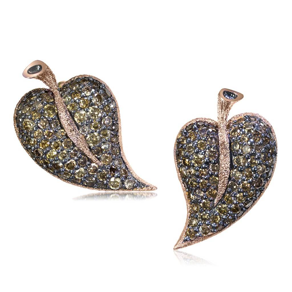 Gold Leaf Stud Earrings with Champagne Diamonds