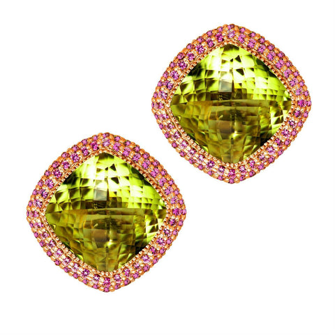 LEMON CITRINE AND PINK SAPPHIRE ROYAL EARRINGS IN ROSE GOLD