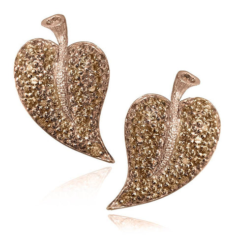 CHAMPAGE DIAMONDS AND ROSE GOLD LEAF EARRINGS