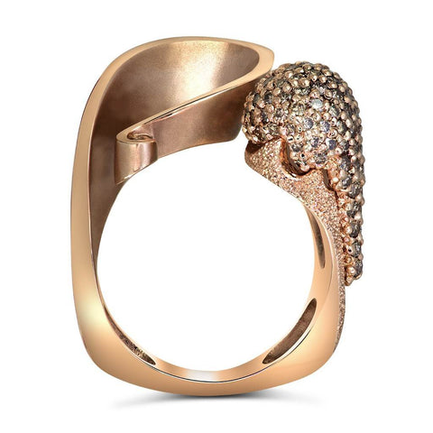 CHAMPAGNE DIAMONDS AND ROSE GOLD CALLA RING