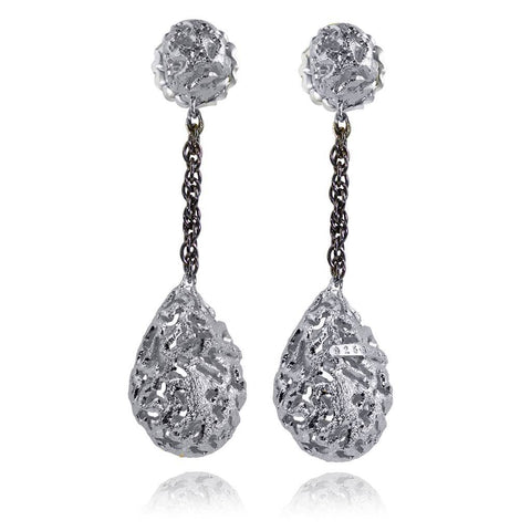 Sterling Silver and Platinum Meteorite Drop Earrings