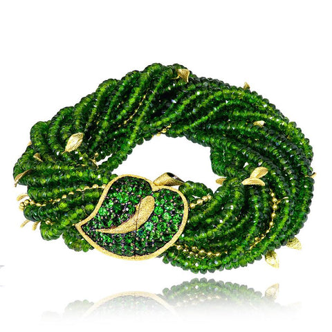 GOLD LEAF BRACELET WITH CHROME DIOPSIDE AND TSAVORITES