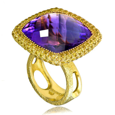 Amethyst And Yellow Sapphire Royal Ring In Yellow Gold
