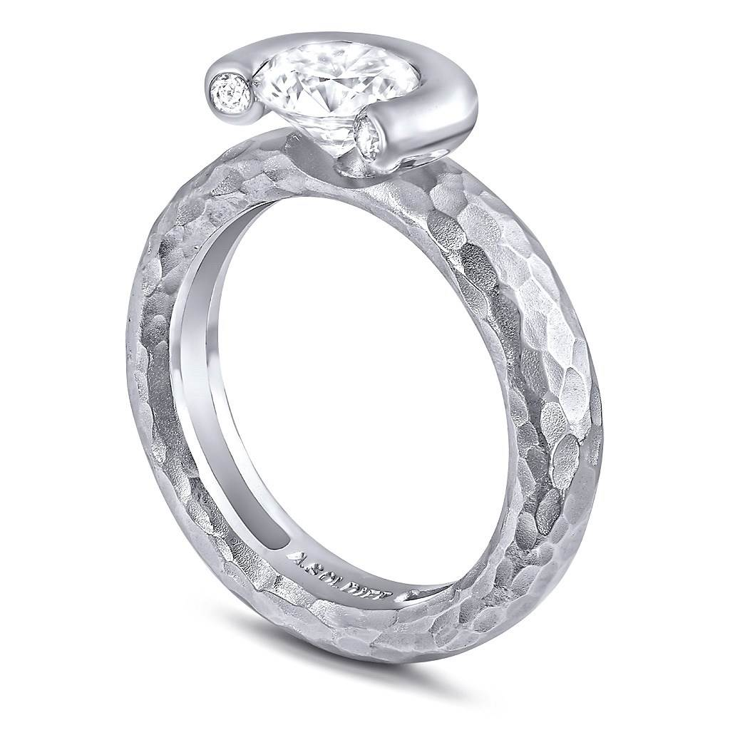 Valentine Diamond Crescent Organic Texture Engagement Ring
