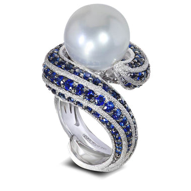 White Gold Twist Ring With Freshwater Pearl And Blue Sapphires