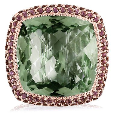 Green Amethyst And Rhodolite Garnet Royal Ring In Rose Gold