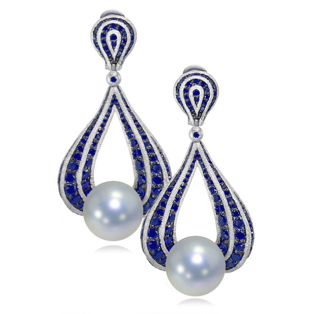 Gold Twist Earrings With Freshwater Pearl And Blue Sapphires