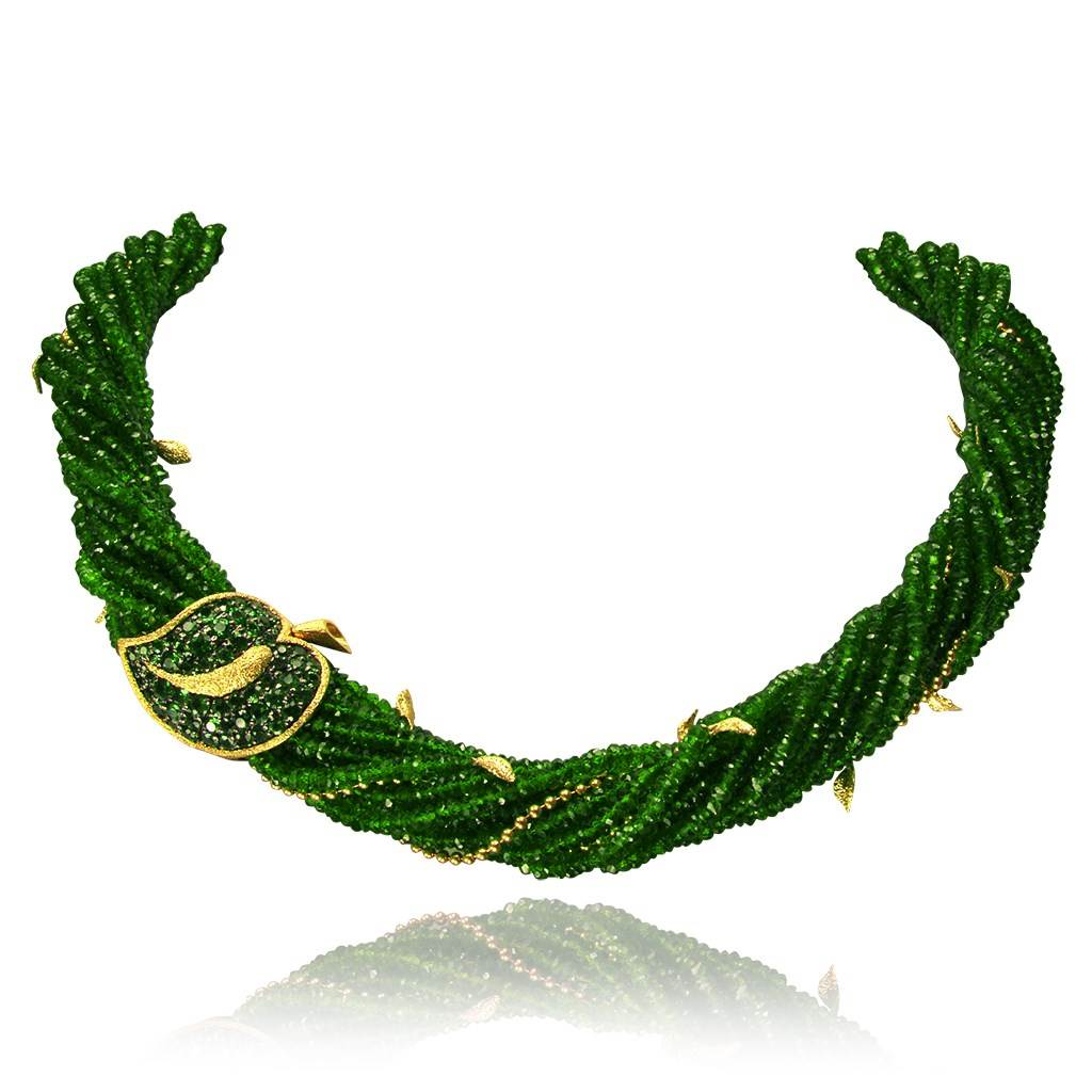 Gold Sunflower Leaf Necklace with Chrome Diopside