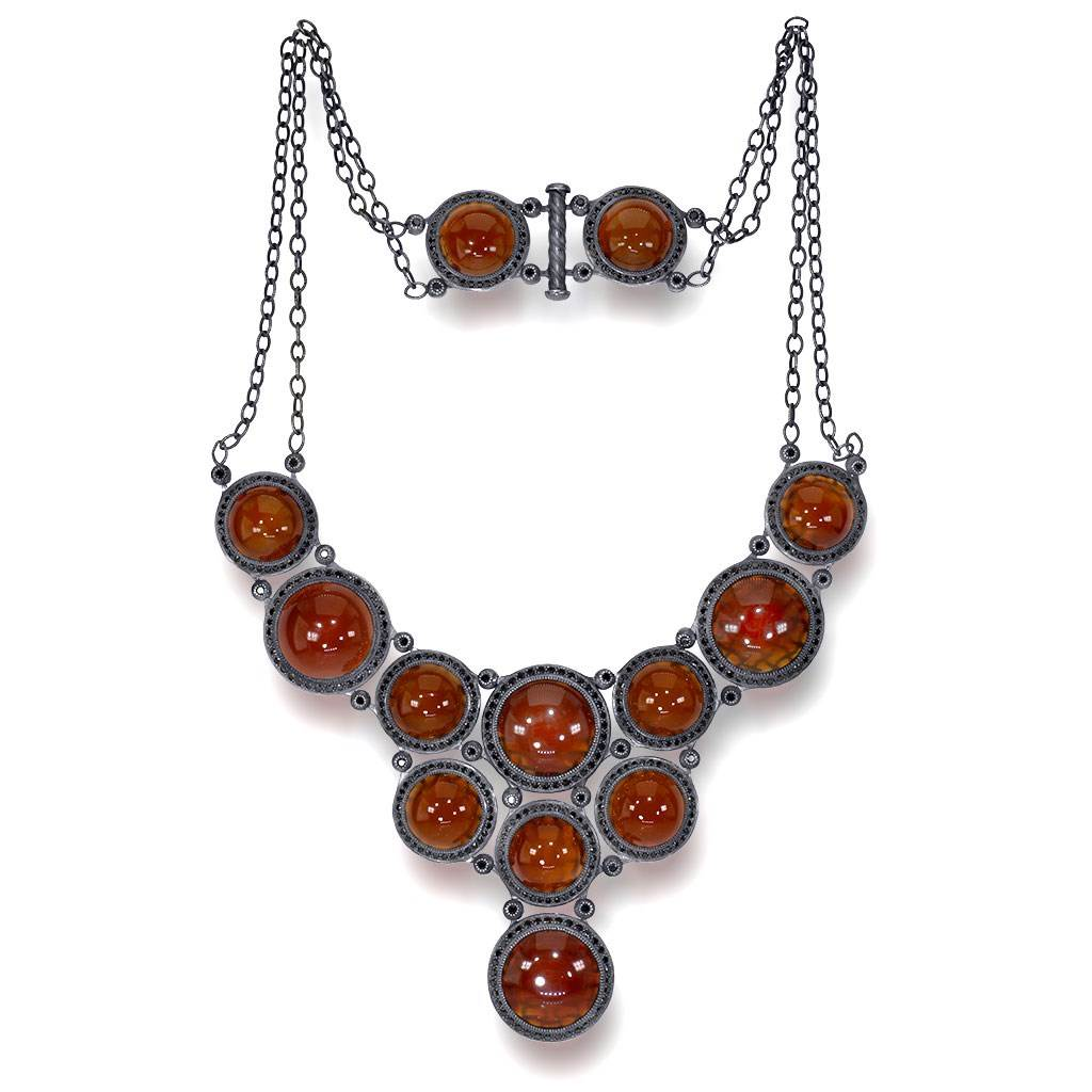 Silver Symbolica Necklace with Carnelian & Black Spinel