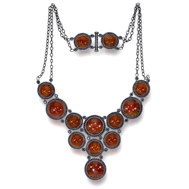 Carnelian And Black Spinel Symbolica Necklace In Oxidized Silver