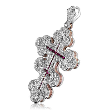 Greek Orthodox Diamond Ruby Gold Cross Pendant