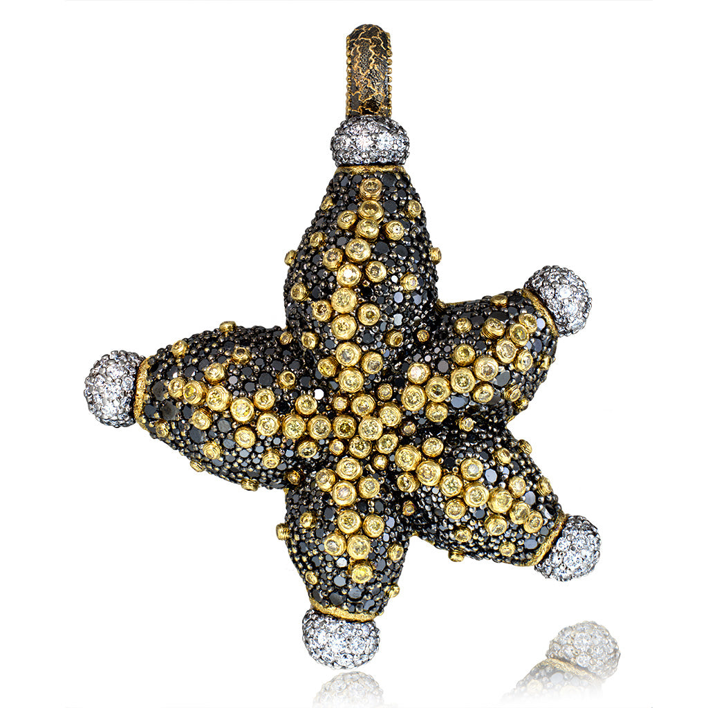 Gold Starfish Necklace with Black Diamonds Sapphires