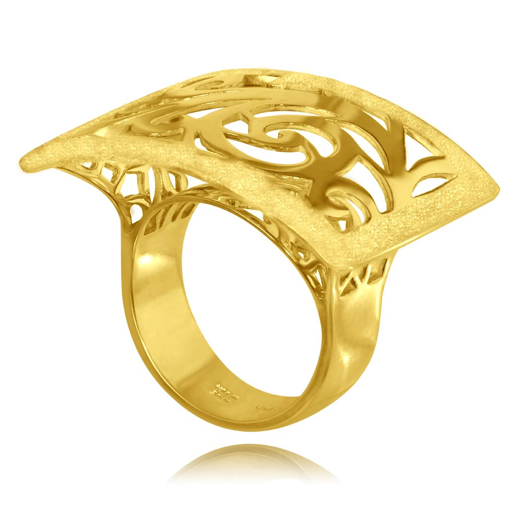 Gold Ornament Contrast Texture Ring
