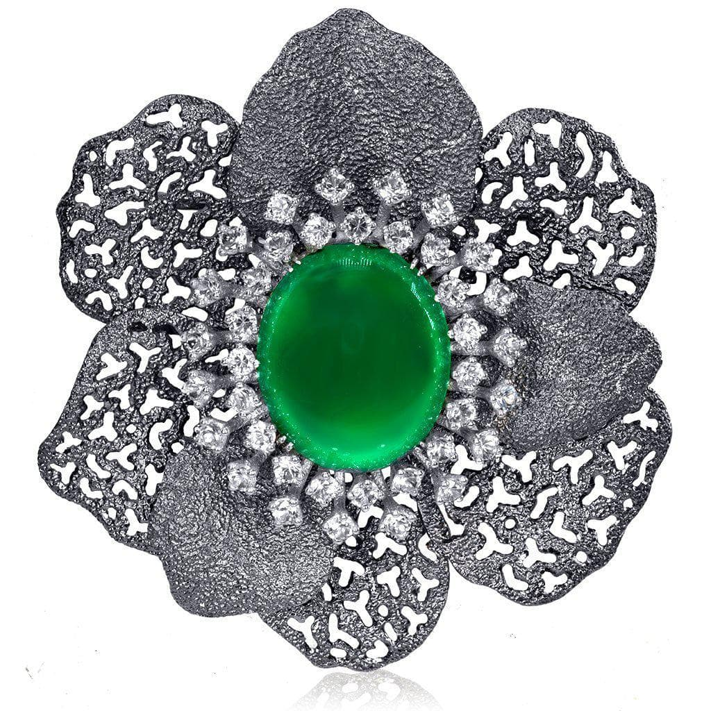 Silver Coronaria Brooch/Pendant with Green Agate, Topaz