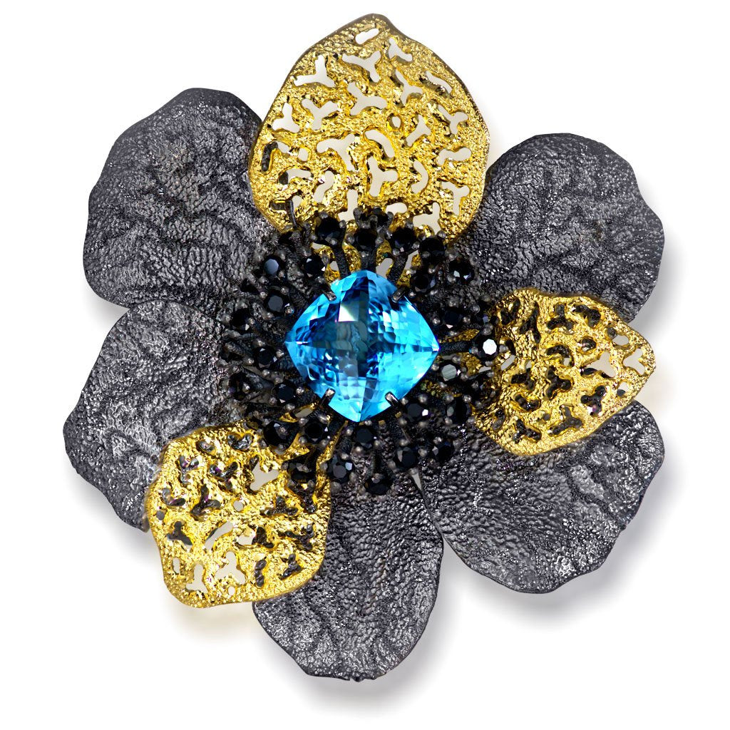 Blue Topaz Spinel Sterling Silver Gold Rhodium Coronaria Brooch Pendant