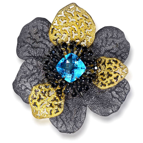 BLUE TOPAZ AND BLACK SPINEL CORONARIA BROOCH PENDANT IN STERLING SILVER, GOLD AND DARK PLATINUM